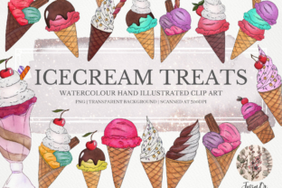 Print on Demand: Ice Cream Treats Clipart Set Graphic Illustrations By Jessaox