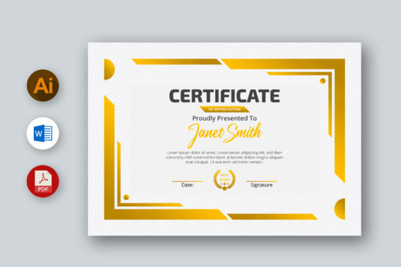 MS Word Certificate Template, Ai, PDF Graphic Print Templates By inpixell.studio
