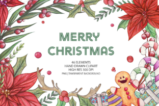 Print on Demand: Merry Christmas Clip Art Set Graphic Illustrations By Jessaox