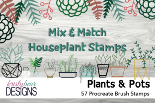 Print on Demand: Procreate Brushes - Houseplant Stamps Graphic Brushes By kristybear DESIGNS