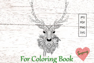 Reindeer for Adult Coloring Book Graphic Coloring Pages & Books Adults By somjaicindy