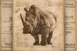 Print on Demand: Rhinoceros Da Vinci Drawing Style Art Graphic Illustrations By Vintage 12by12