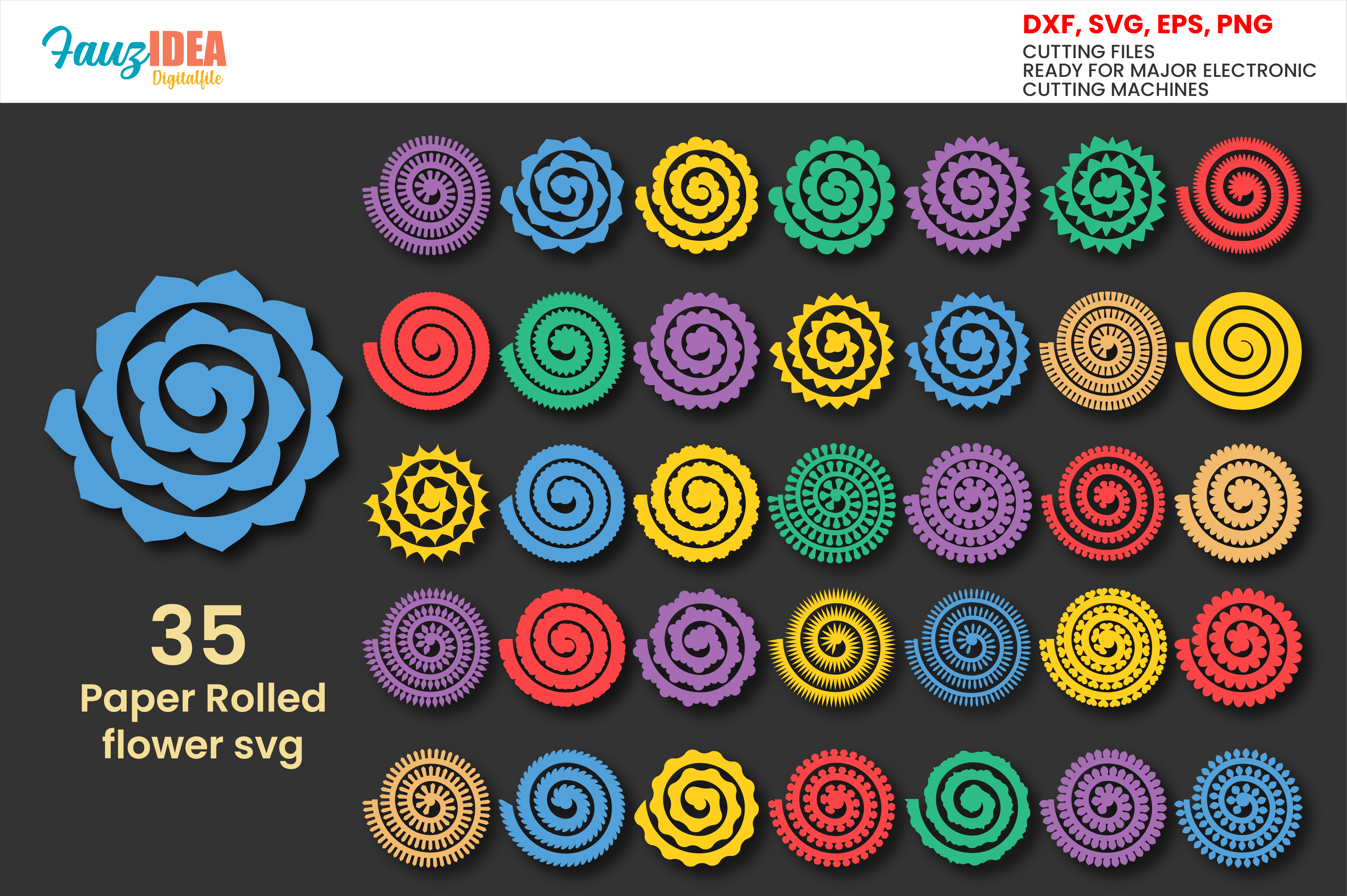 Rolled Paper Flowers Svg Template, SVG File