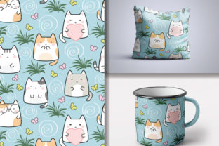 Seamless Kawaii Cats Pattern Graphic Patterns By lindoet23
