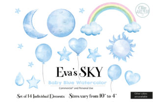 Print on Demand: Sky Cloud Moon Balloon 14 PNG Images Set Graphic Illustrations By clipArtem