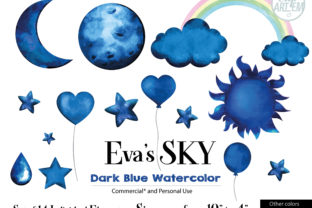 Print on Demand: Sky Cloud Navy Balloon 14 PNG Bundle Graphic Illustrations By clipArtem