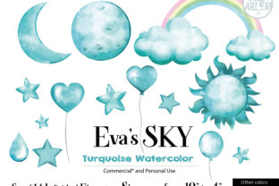 Print on Demand: Sky Cloud Turquoise Teal 14 PNG Images Graphic Illustrations By clipArtem