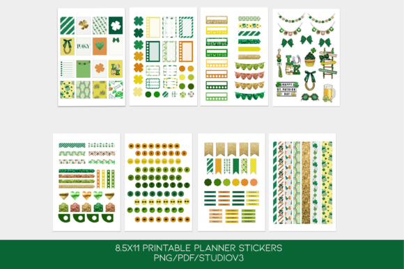 Print on Demand: St. Patrick's Day Printable Stickers Graphic Print Templates By TheGGShop