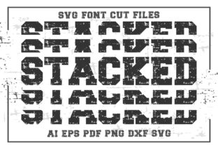 Print on Demand: Stacked SVG Font Cut Files Graphic Crafts By KtwoP