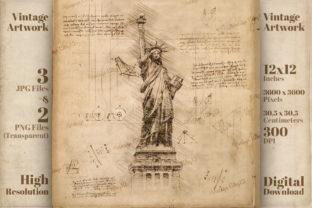 Print on Demand: Statue of Liberty New York USA Da Vinci Grafik Illustrationen von Vintage 12by12