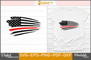 Print on Demand: USA Flag Design Red Line Firefighter Svg Graphic Print Templates By Sarofydesign