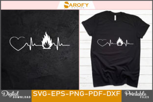 Print on Demand: Vector Firefighter Heart Rate Design Svg Graphic Print Templates By Sarofydesign