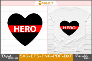 Print on Demand: Vector Heart Design with Hero Red Line Graphic Print Templates By Sarofydesign