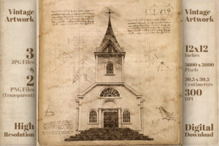 Print on Demand: Vintage Church Da Vinci Drawing Style Graphic Illustrations By Vintage 12by12