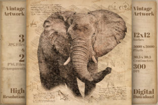 Print on Demand: Vintage Elephant Da Vinci Drawing Style Graphic Illustrations By Vintage 12by12