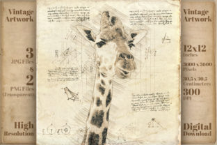 Print on Demand: Vintage Giraffe Da Vinci Drawing Style Graphic Illustrations By Vintage 12by12