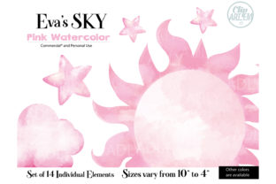 Print on Demand: Watercolor Sky Cloud Pink 14 PNG Images Graphic Illustrations By clipArtem