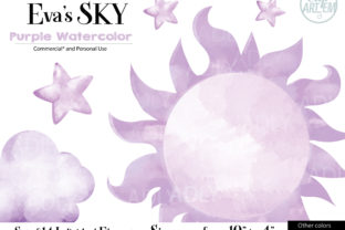Print on Demand: Watercolor Sky Cloud Purple 14 PNG Graphic Illustrations By clipArtem