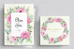 Wedding Invitation Card with Flowers Graphic Print Templates By lukasdedi store