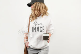 White Hoodie on Girl Model Mockup Graphic Product Mockups By Mockup Central