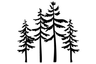 Silhouette Pine Trees Designs & Drawings Craft Cut File By Creative Fabrica Crafts