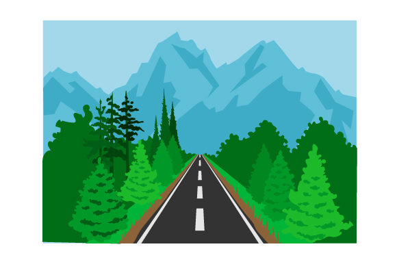 Mountain Road Background Designs & Drawings Craft Cut File By Creative Fabrica Crafts