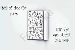 A Large Bundle of Hand-drawn Stars Graphic Illustrations By Fenrirka