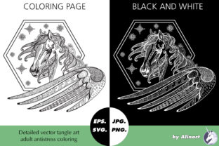 Amazing Pegasus Tangle Coloring Graphic Coloring Pages & Books Adults By Alinart