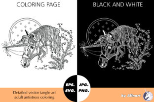 Amazing Unicorn Tangle Coloring Graphic Coloring Pages & Books Adults By Alinart