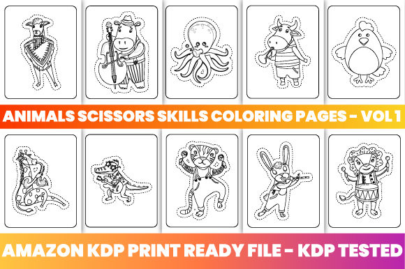 Print on Demand: Animals Scissors Skills 50 Pages - Vol 1 Graphic Coloring Pages & Books Kids By Trend Color