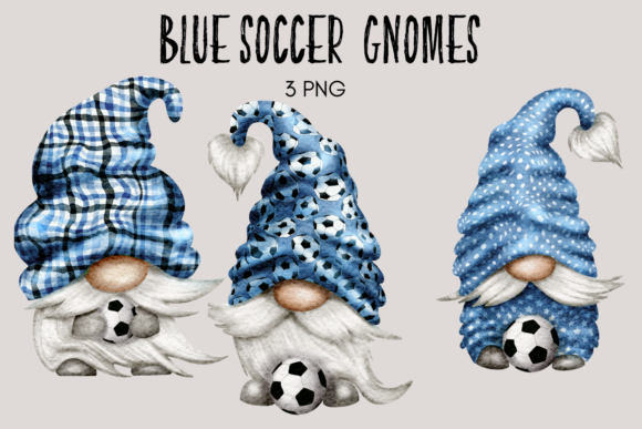 Print on Demand: Blue Soccer Football Gnomes Clipart Graphic Illustrations By Celebrately Graphics