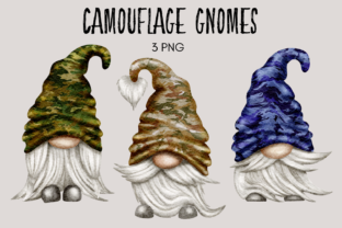 Print on Demand: Camouflage Gnomes Clipart Graphic Illustrations By Celebrately Graphics