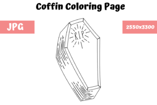 Print on Demand: Coloring Book Page for Kids - Coffin Graphic Coloring Pages & Books Kids By MyBeautifulFiles