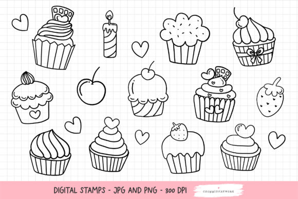 Print on Demand: Cupcakes Digital Stamps, Cupcakes PNG Graphic Illustrations By Chonnieartwork
