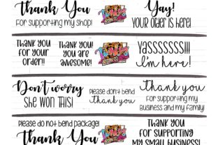 Cute Set of 10 Thank You Stickers Graphic Crafts By tiffanator606