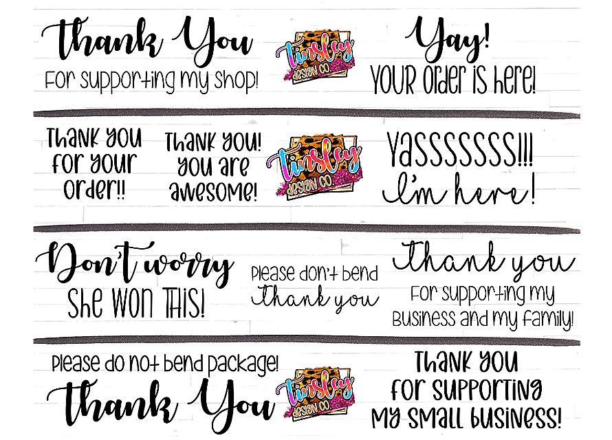 Cute Set of 10 Thank You Stickers SVG File