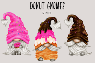 Print on Demand: Donut Gnome Clipart Grafik Illustrationen von Celebrately Graphics