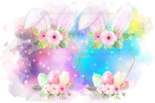 Print on Demand: Easter Ears, Eggs, Frame and Flowers Graphic Illustrations By RainbowDesigns