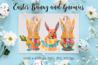 Easter Gnomes. Easter Bunny. Graphic Illustrations By KsenyaArt