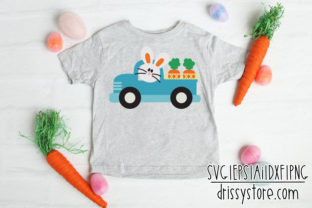 Easter Truck with Bunny Graphic Illustrations By DrissyStore