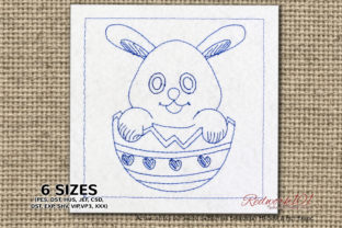 Egg and Bunny Lineart Easter Embroidery Design By Redwork101