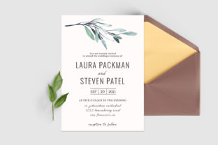 Print on Demand: Green Leaves Wedding Invitation Template Graphic Print Templates By Creative Tacos