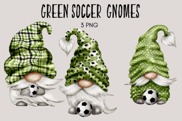 Print on Demand: Green Soccer Football Gnomes Graphic Illustrations By Celebrately Graphics
