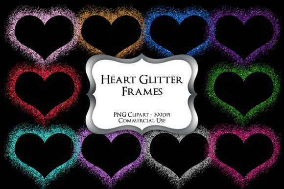 Print on Demand: Heart Glitter Frames Clipart Graphic Illustrations By Party Pixelz