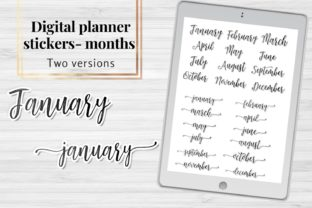 Months Planner Clip Arts, Scripts Names Graphic Objects By Aneta Design