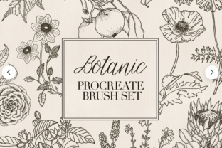 Print on Demand: Procreate Stamp Set Botanic Flower Graphic Brushes By Kamila Suwińska