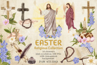 Print on Demand: Religious Easter Clipart Jesus Cross Bun Graphic Illustrations By PawStudio