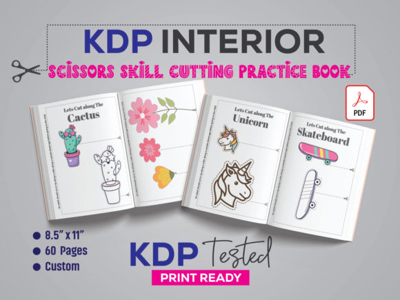 Scissors Skills Cutting Practice Book Graphic KDP Interiors By GraphicTech360