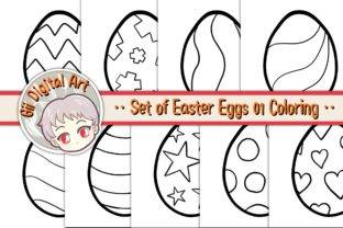 Print on Demand: Set of Easter Eggs 01 Coloring Pages Graphic Coloring Pages & Books Kids By Gii Digital Art