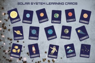 Solar System Learning 16 Cards Graphic Illustrations By annetc designs